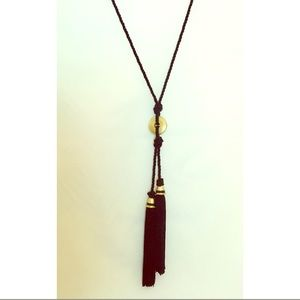 Chico's Long Necklace with Black Tassels, NWOT